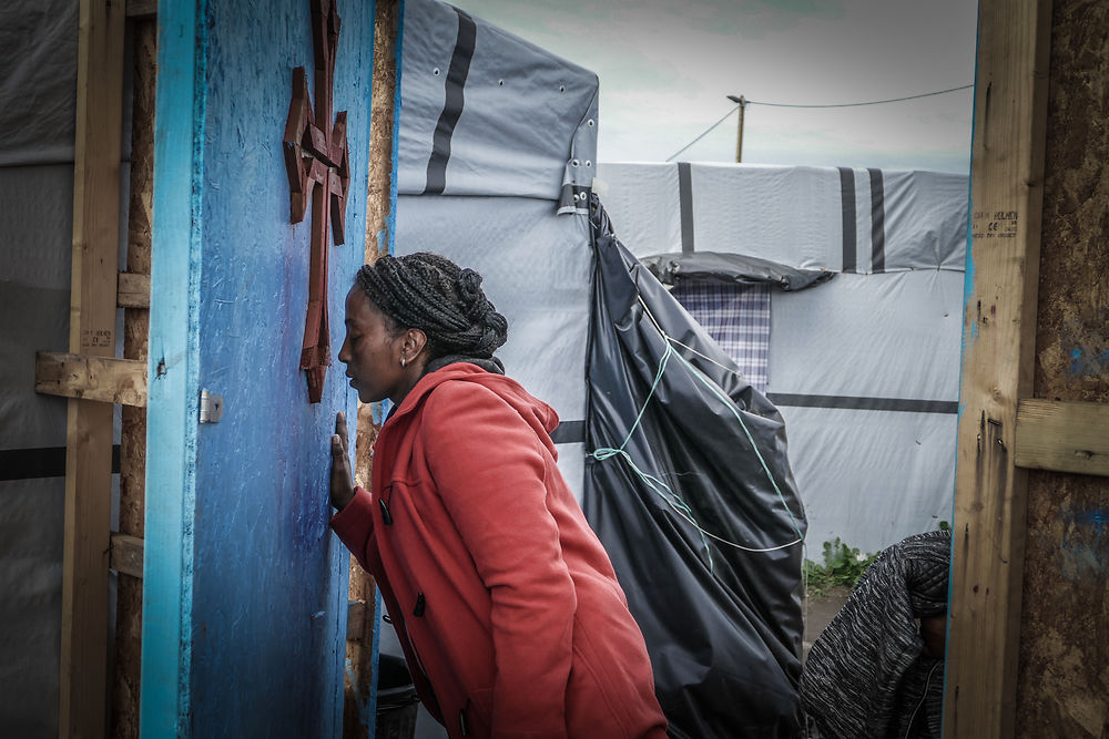 An eritrean migrant pray in Calais, France, on November 10, 2015. Eritreans are beginning to form large ...
