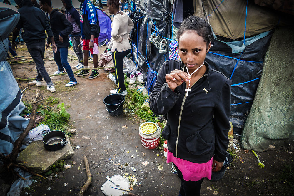 An eritrean woman, on November 10, 2015, in Calais, France. Eritreans are beginning to form large numbers in ...