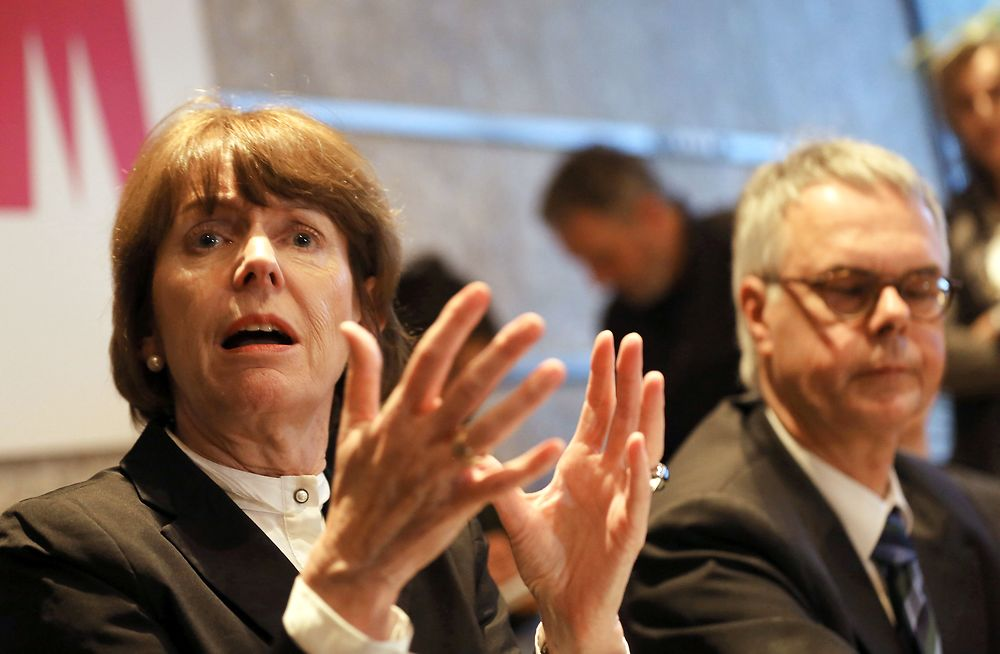 Mayor of Cologne Henriette Reker speaks during a press conference on January 5, 2016. The German government ...