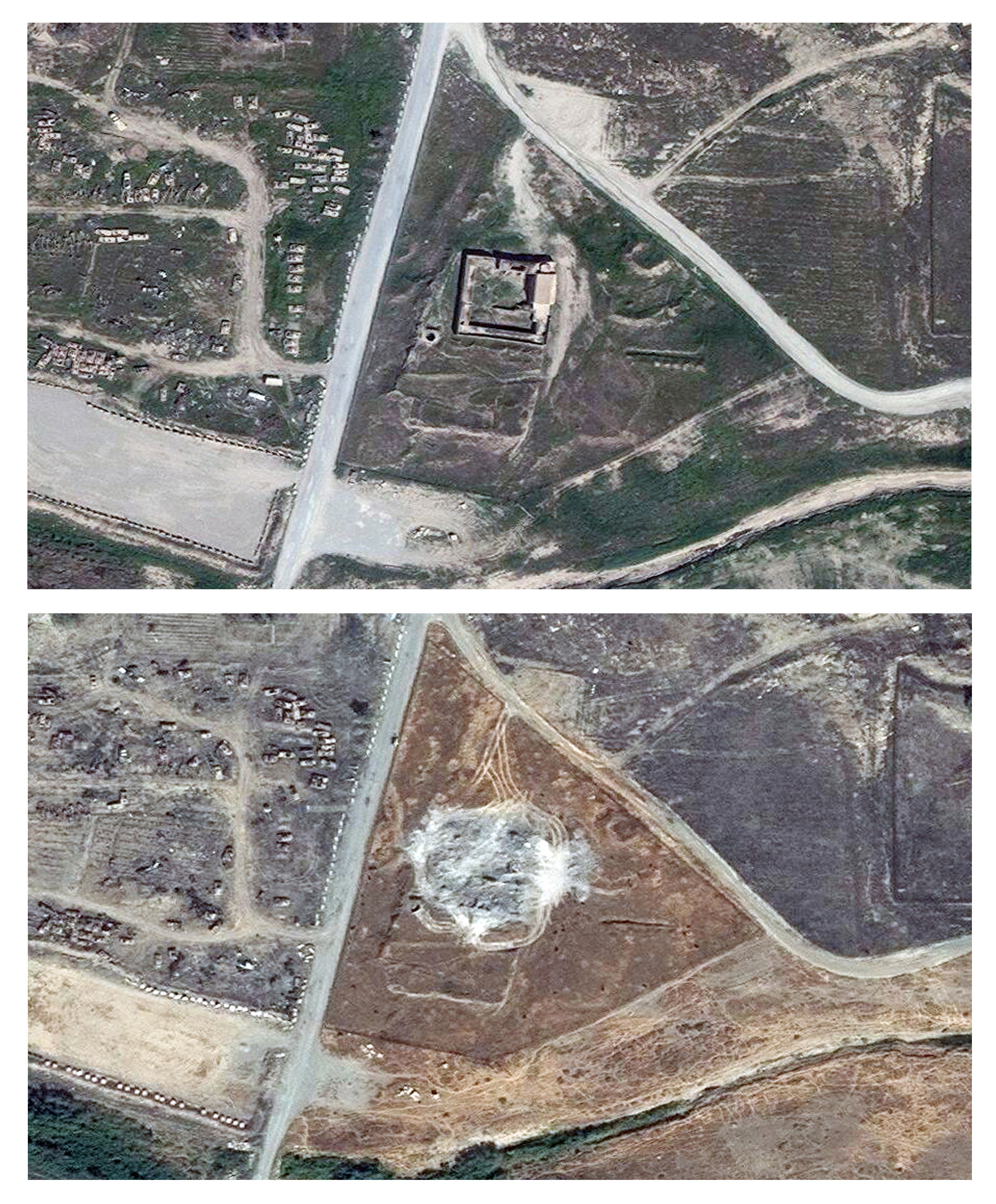 This combination of two satellite images provided by DigitalGlobe, taken on March 31, 2011, top, and Sept. ...