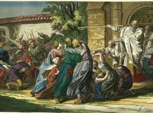"""History of Judaism: First anti-Jewish pogrom in Germany during the first Crusade 1096/97.-""""Bishop Johann ..."""