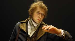 A wax figure of English naturalist Charles Darwin is pictured at the Darwin ´s Evolution Exhibition ...