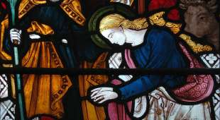 Nativity, stained glass, Priory Church of St Mary, Deerhurst, Gloucestershire. Artist: Dr Stephen