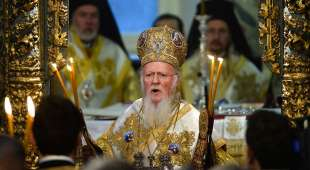 Ecumenical Patriarch Bartholomew I of Constantinople leads the Divine Liturgy at the St George church, the ...