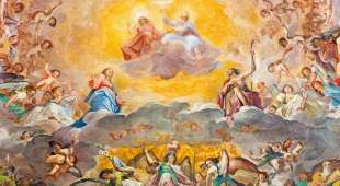 ROME, ITALY - MARCH 12, 2016: The central part of fresco of The Glory of Heaven (1630) in main apse of church ...