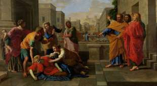 """Poussin, Nicolas 1594-1665.-""""The Death of Sapphira"""", c.1654/56.-(Acts 5, 11). Oil on canvas, 122 x ..."""