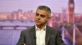 London's newly elected mayor Sadiq Khan appears on the BBC's Andrew Marr Show programe in a studio ...