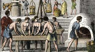 Bakery workers in ancient Rome. Handcolored woodcut of a 19thcentury