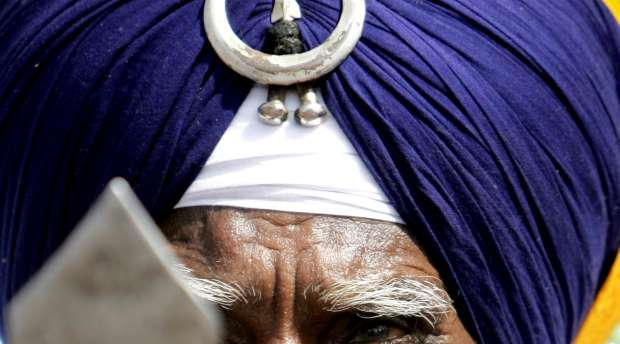 A Sikh elder looks on during the inaugural function of the Khalsa Sports Festival in Nanded, some 650 kms ...