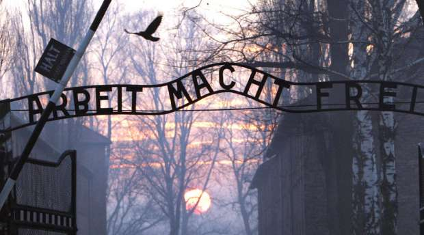 (FILES) This File Picture taken on January 13, 2005 shows the main gate entering the Nazi Auschwitz death ...