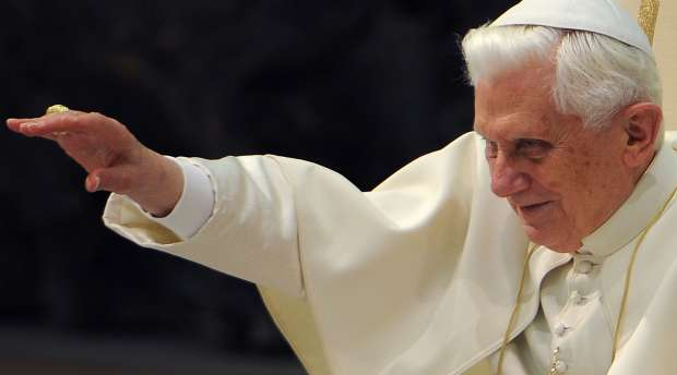 Pope Benedict XVI (C) waves during his weekly general audience on January 27, 2010 at the Paul VI hall at The ...