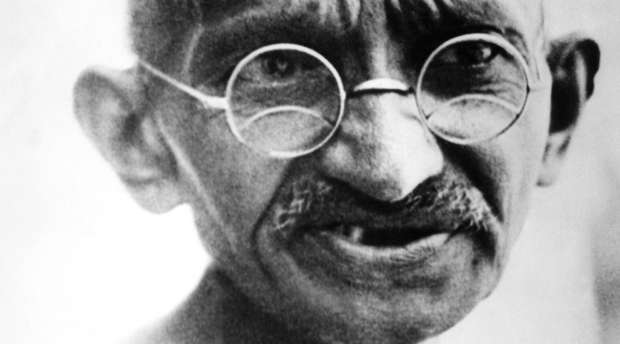 (FILES) In this picture taken on July 24, 1931, Mahatma Gandhi speaks in New Delhi. An auction of several of ...