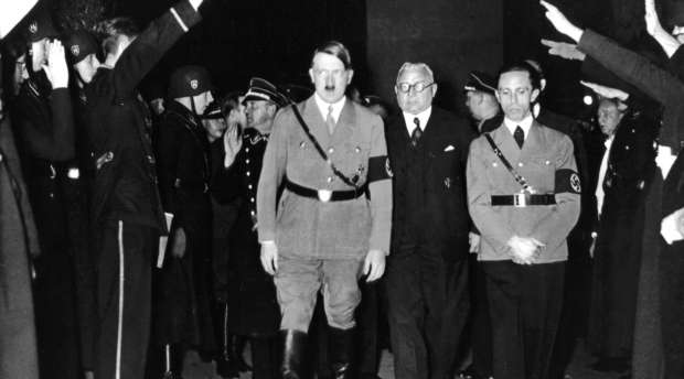 Hitler and Goebbels in a movie shot by the