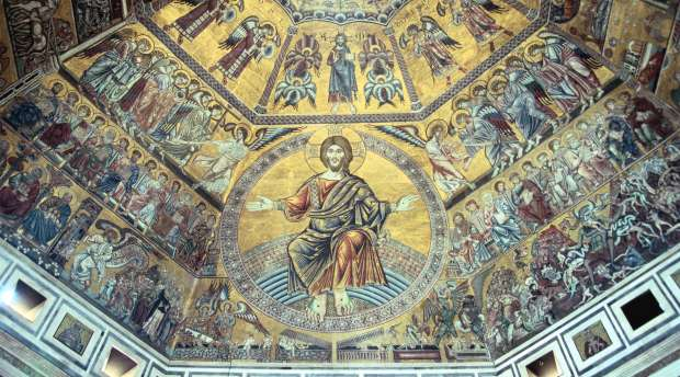 Mosaic ceiling, Baptistry of St John, Florence, Italy. The Baptistry of St John (Battistero di San Giovanni) ...