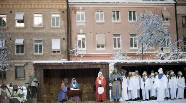 GOTHENBURG 2010-12-09  A live nativity scene was performed at the yard and the Dome in Gothenburg, Sweden, ...