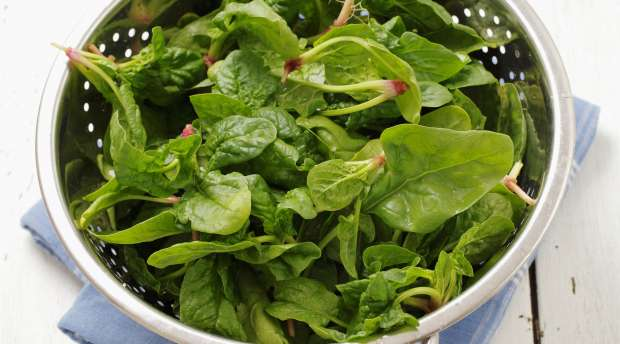 Fresh spinach leaves in a