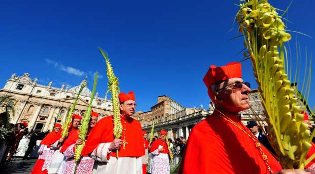 Cardinals attend the Palm Sunday celebration lead by Pope Benedict XVI in Saint Peter's square at the ...